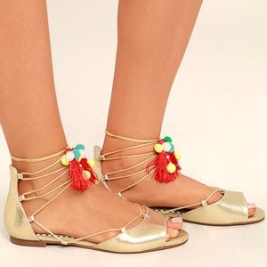 e09d56c12fe Betsey Johnson Shoes - BETSEY JOHNSON ABREE GOLD LACE-UP POMPOM SANDALS